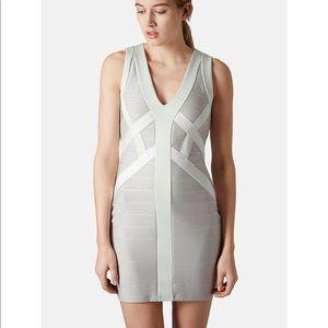 Topshop bandage ribbed gray dress mint size 8